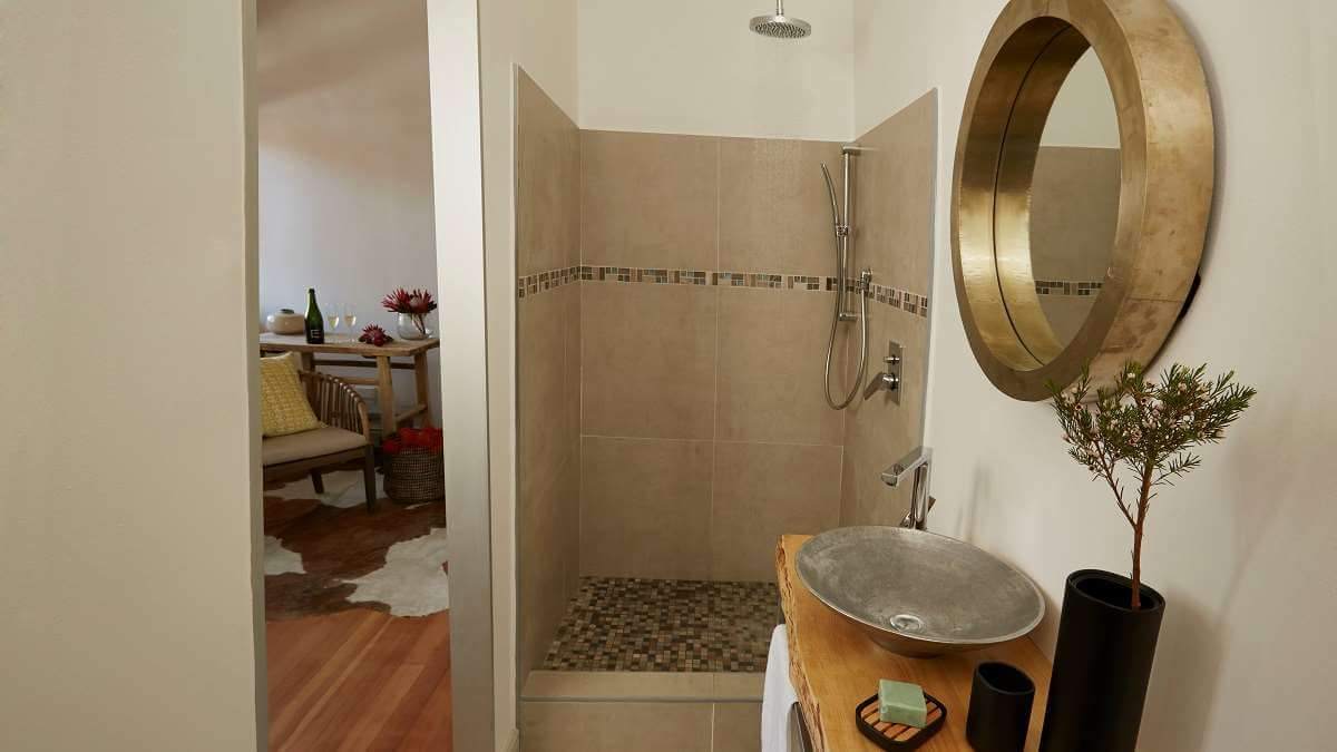 deluxe double room bathroom with shower and stylish sink
