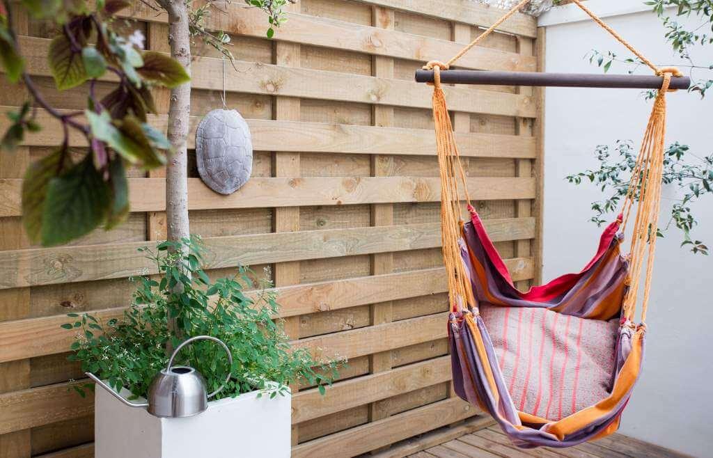 wooden deck patio comfortable hamac